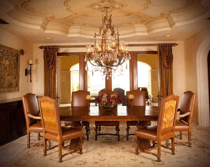 Dining Room Ceiling Design and Gold Leaf Medallon