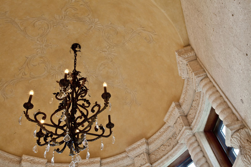 Custom painted design in master bath dome.
