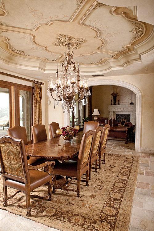 Custom Dining Room Design with custom artwork, faux finish and moldings