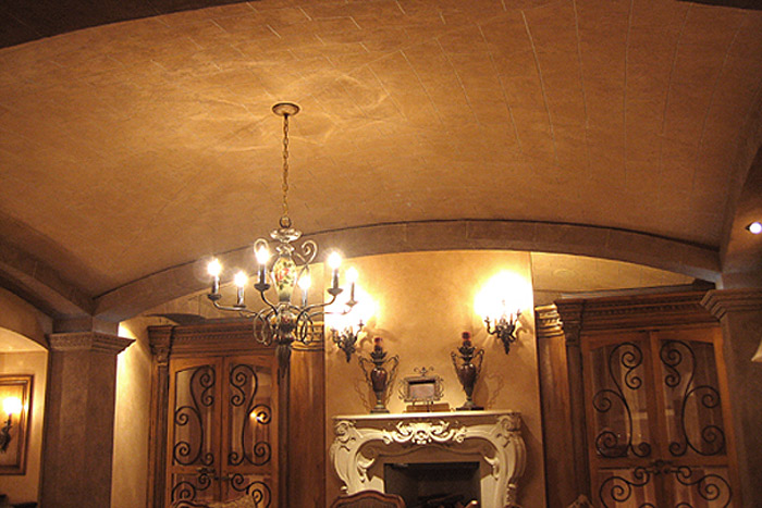 Faux stone block barrel ceiling in wine room