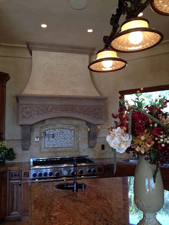 Hand Painted Kitchen Hood Design and faux finish wall and crown