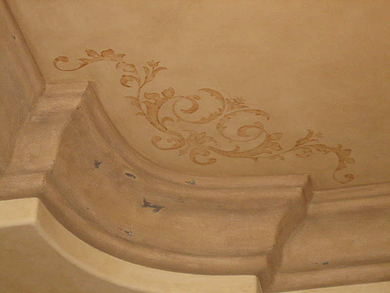 Hand painted design and faux plaster