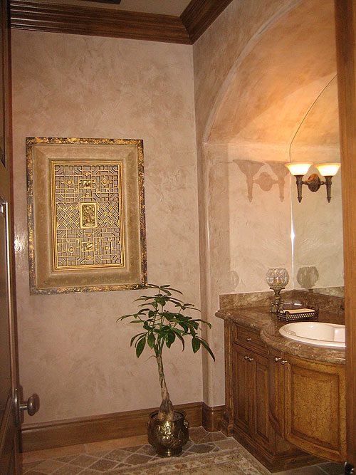Venetian Plaster Powder Room in a semi polished finish.