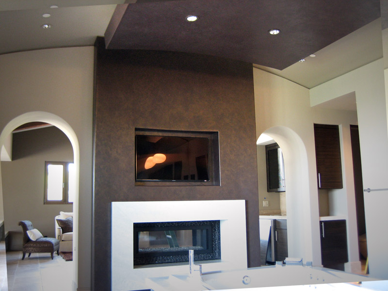 Contemporary Faux Finish Accent Wall in Metallic Bronze