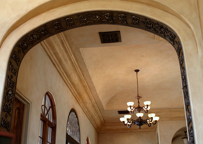 Faux Finish Walls and Crown with Bronze Faux Finish Arch.