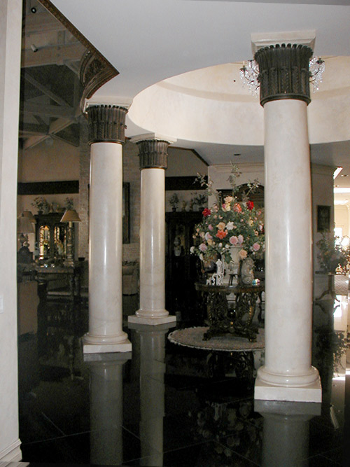 Faux Marble and Bronze Crown Columns