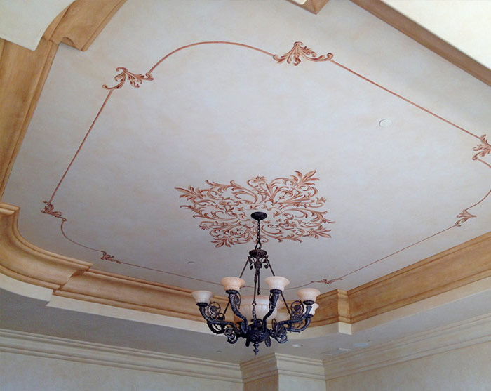 Hand Painted custom ceiling design.