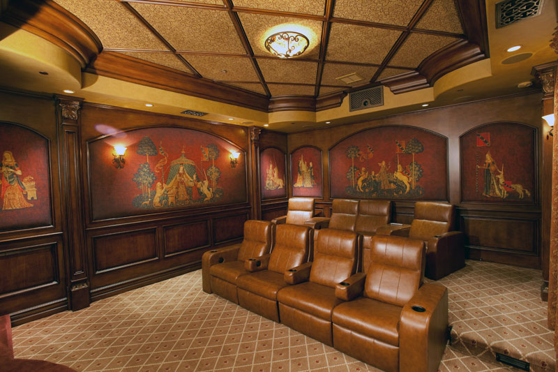 Faux Wood Grain Finish in Theater room.