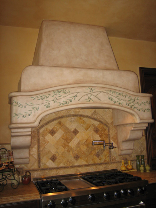 Hand Painted Design on Kitchen Hood and faux finish