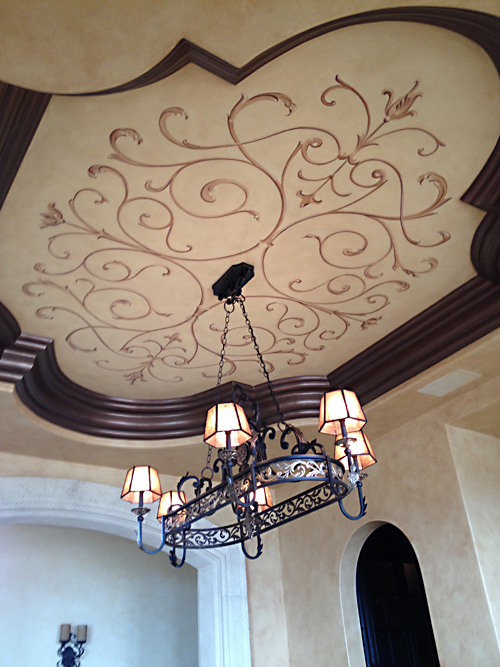 Hand Painted Ceiling Design and Bronze Crown faux finish.