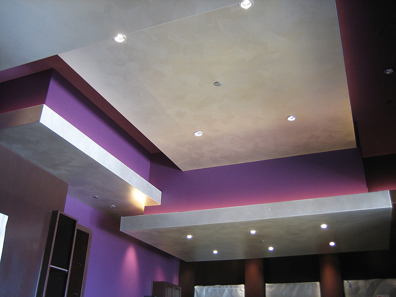 Brushed Silver Floating ceiling Panels. Faux finish
