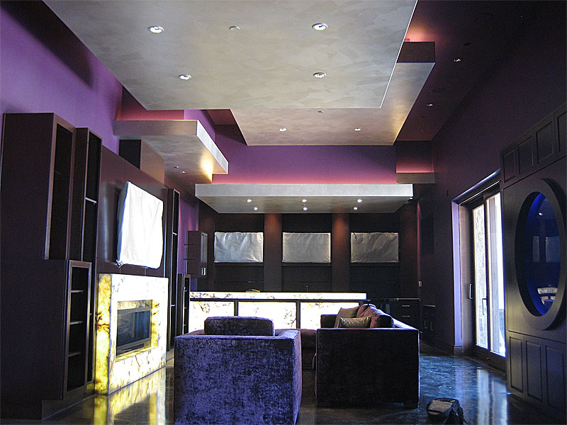 Brushed Silver Faux Finish on floating ceiling panels.