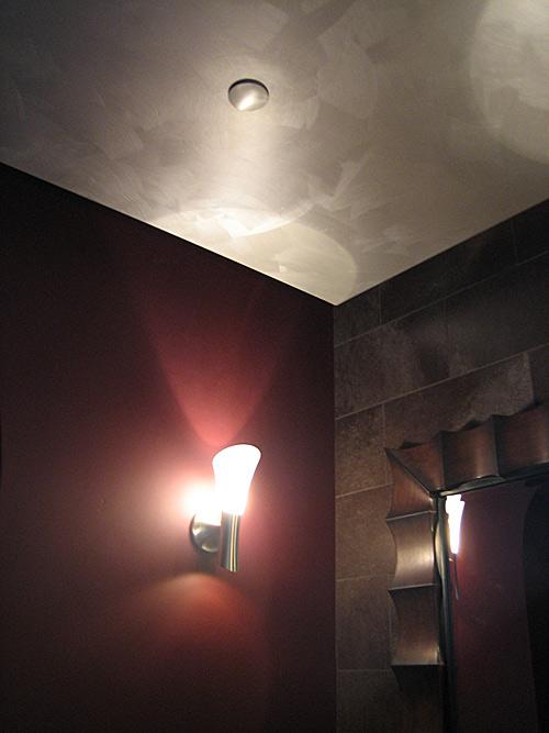Contemporary powder bathroom, Brushed Metallic Faux Finish