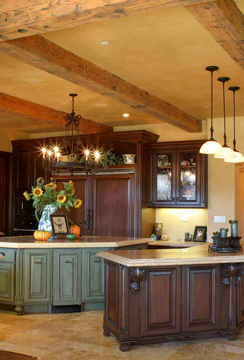 Custom Kitchen Cabinets with distressed finish on Island wood work.